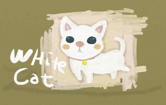 油絵風イラスト☆白猫ちゃん