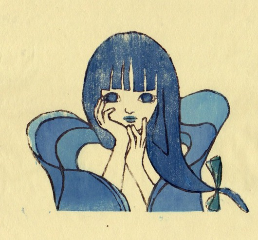 木版画「藍姫」