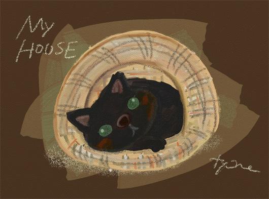 油絵風イラスト☆Cat House
