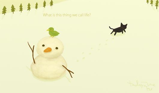 鳥と猫と雪だるま