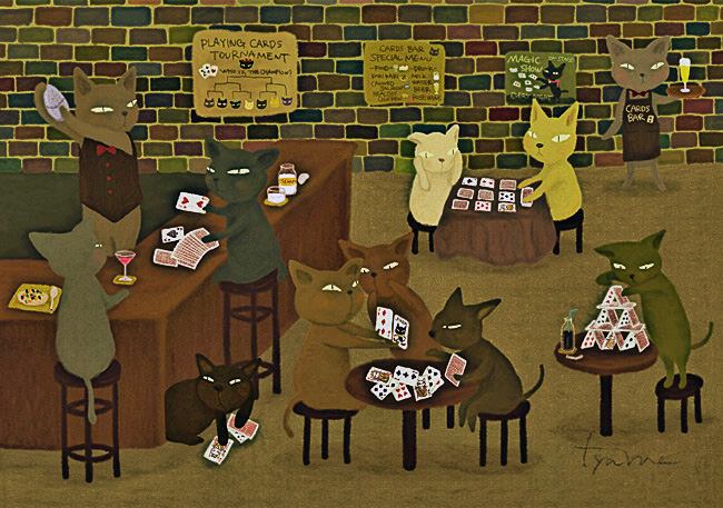 猫たちが集うトランプバー
